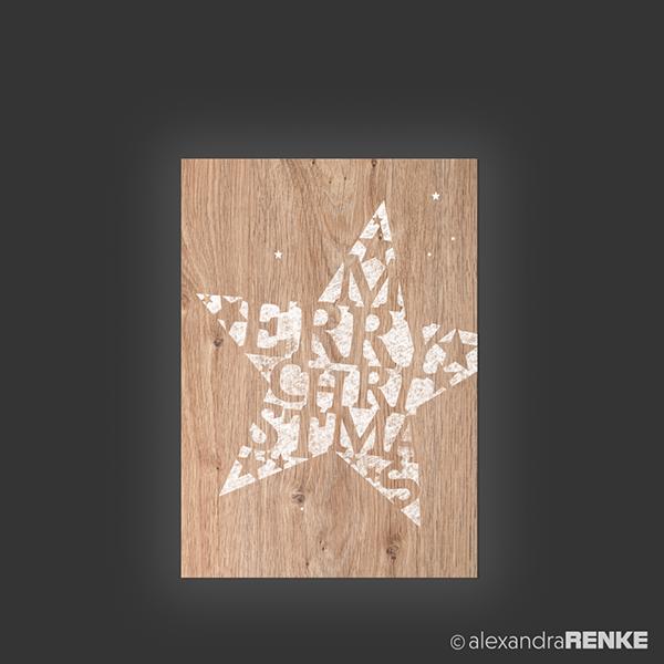 Holz Weihnachtskarten.Stempel Holz Stern Alexandra Renke Weihnachtskarten